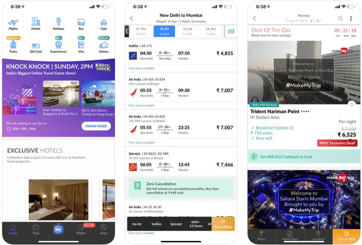 app - cost to develop a travel app like makemytrip