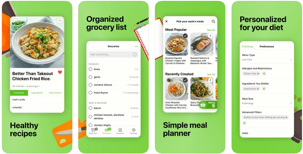 Mealime Meal - online grocery shopping apps