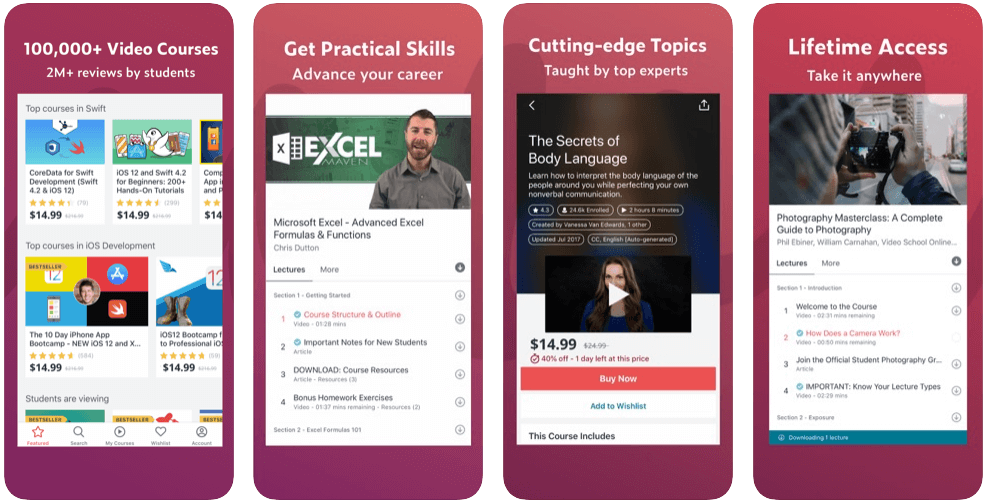 udemy app features